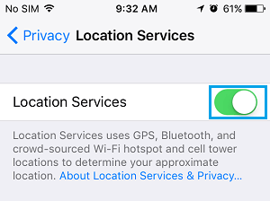 Enable Location Services on iPhone