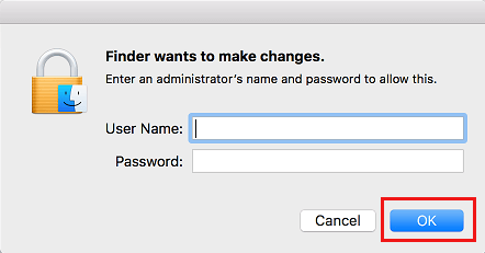 Enter Admin User Name and Password on Mac