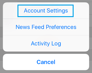 Account Settings Option in Facebook