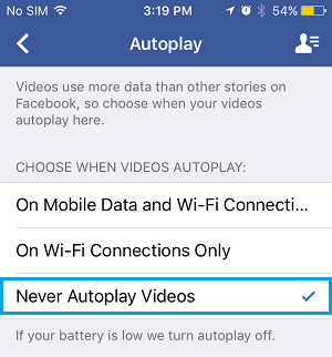 Facebook Videos Autoplay Options On iPhone