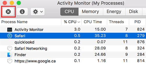 Force Quit App in Activity Monitor on Mac