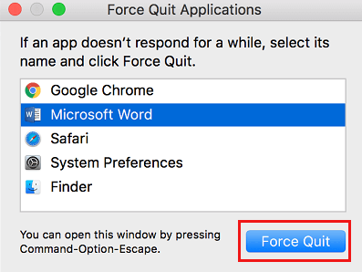 Force Quite Applications Screen on Mac