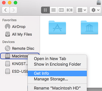 Get Storage Info in Finder on Mac
