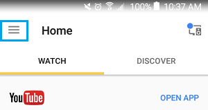 3-line Menu Icon on Google Home App