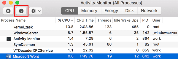 i Icon in Activity Monitor on Mac