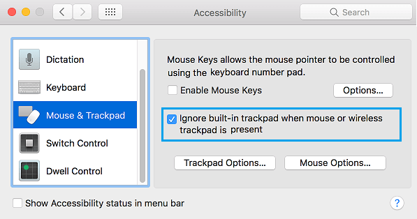 Ignore Built-in Trackpad When Mouse or Wireless Trackpad is Present Option on Mac