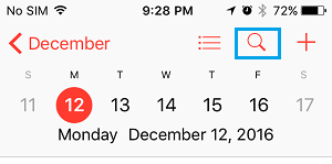 Search Option in iPhone Calendar App