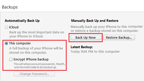 Manually Backup iPhone Using iTunes