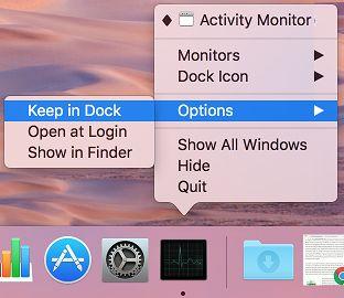 Keep in Dock Option on Mac