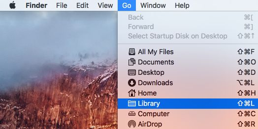 Library Tab in Go Menu on Mac