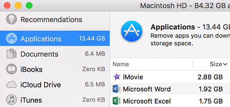 Applications Tab on Mac Storage Manager Screen