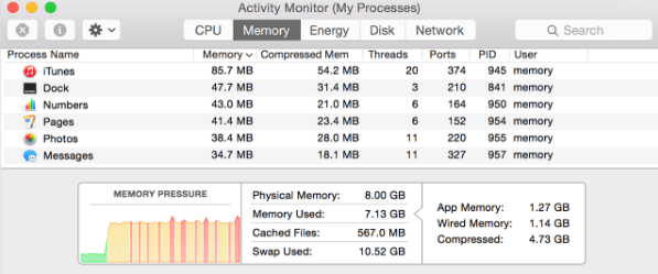 Memory Tab in Activity Monitor on Mac