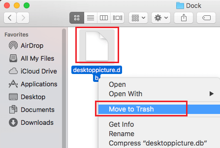 Move Database Files Inside Dock Folder to Trash
