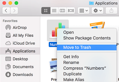 Move Application to Trash on Mac