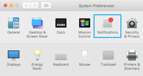 Notifications Option on Mac