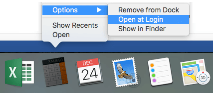 Open at Login Option on Mac