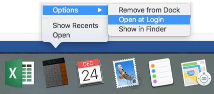 Open at Login Option on Mac