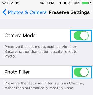 Preserve Camera Mode and Photo Filter