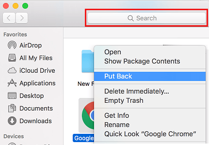 Put Back Option in Trash Can on Mac