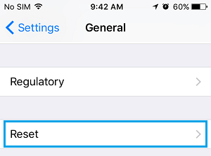 Reset Tab on iPhone General Settings Screen