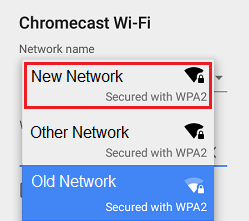 Select New WiFi Network for Chromecast