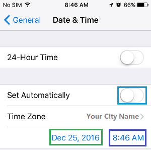 Manually Setup Date and Time On iPhone