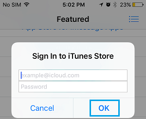 Sign into iTunes Store on iPhone