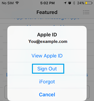 Sign Out of Apple ID on App Store
