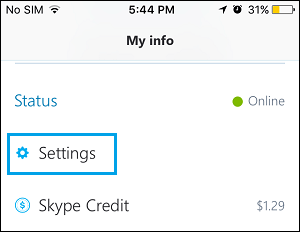Skype Settings Tab on iPhone