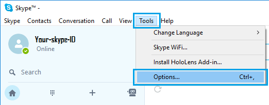 Skype Tools and Options Tab in Windows 10