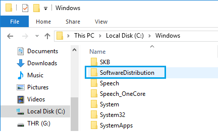 SoftwareDistribution Folder in Windows 10