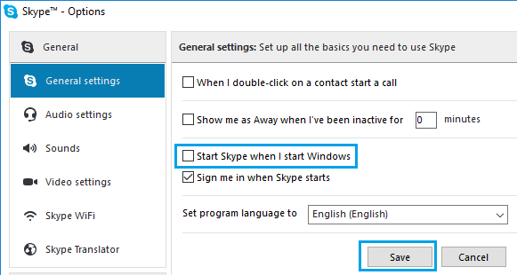 Stop Skype from Opening When I Start Windows Option