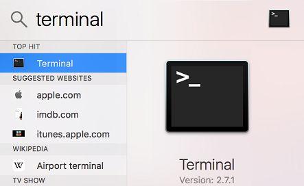 Terminal in Spotlight Search on Mac
