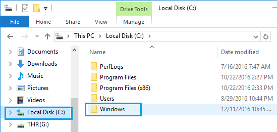 Windows Folder in Local Disk of Windows 10 Computer