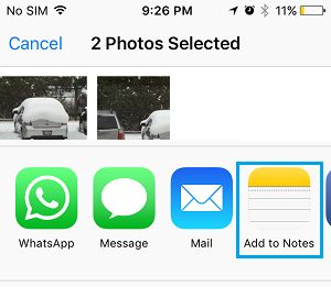 Add Photos to Notes Option on iPhone