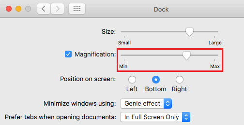 Adjust Dock Magnification on Mac