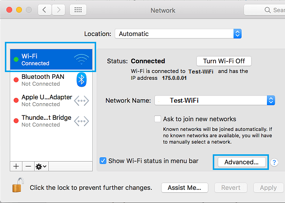 Advanced Options Tab on Network Settings Screen on Mac