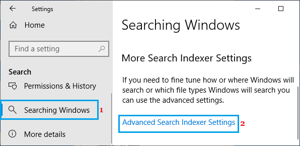 Open Windows Advanced Search Indexer Settings