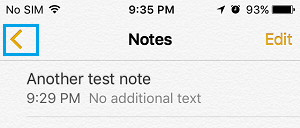 Back Arrow Icon in Notes App on iPhone