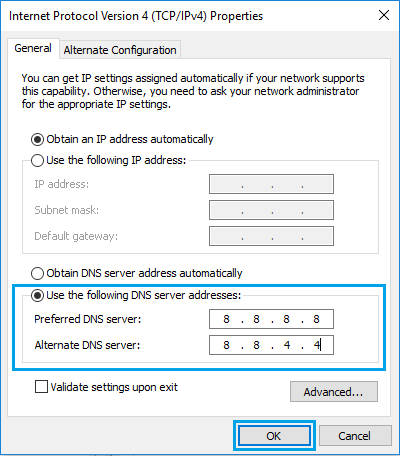Change DNS Severs to Google DNS in Windows 10