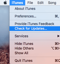 iTunes and Check for Updates Tab on Mac