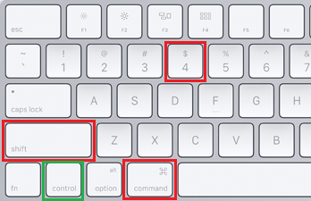 Command. Control, Shift and 4 Keys on Mac