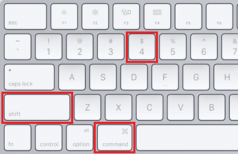 Command. Shift and 4 Keys on Mac