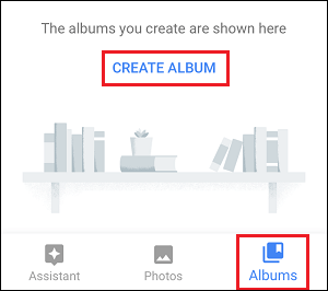 Create Album Link in Google Photos App