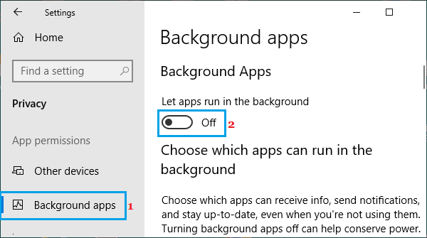 Disable Apps Running in the Background