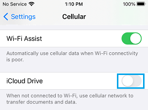 Disable Cellular Data Usage by iCloud Drive on iPhone