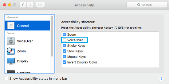 Disable VoiceOver Shortcut Option On Mac