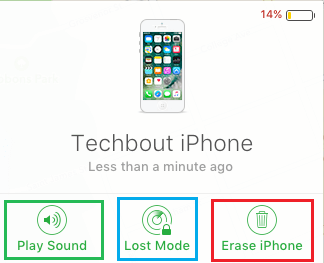 Find My iPhone Play Sound, Lost Mode and Erase iPhone Options