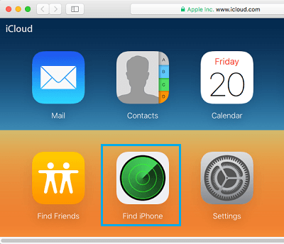 Find iPhone Option on iCloud