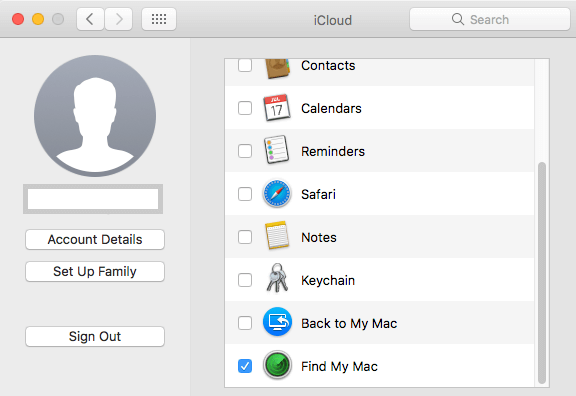Enable Find My Mac Option in iCloud on Mac